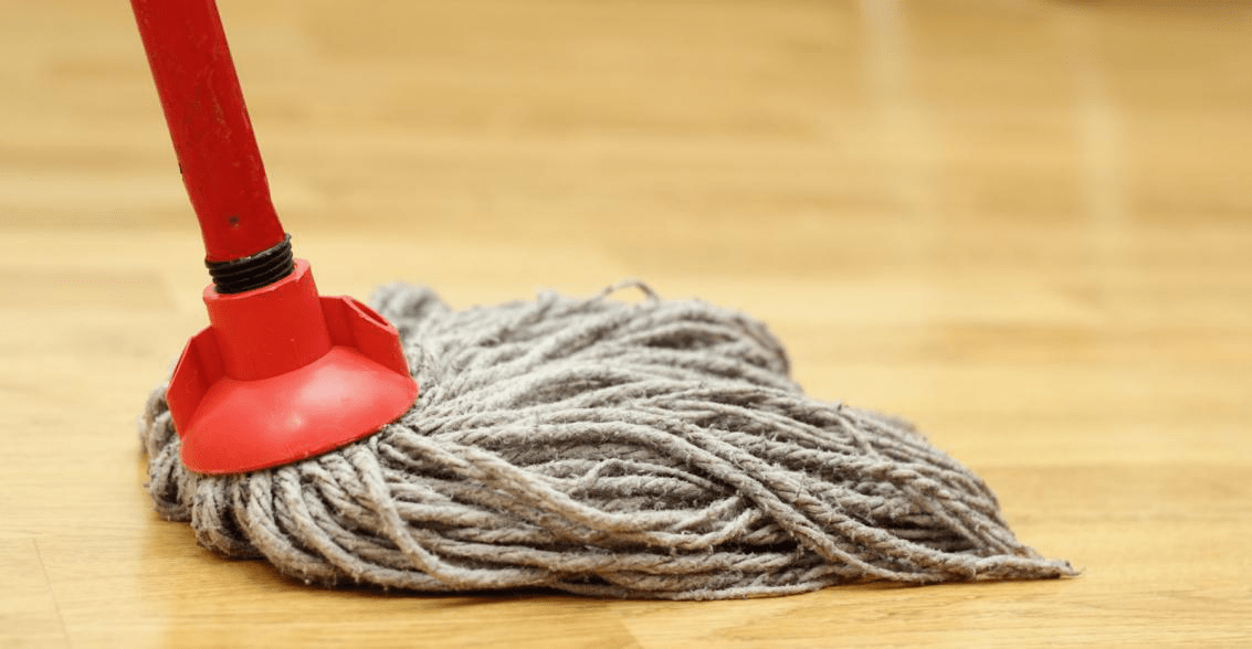 mopping-to-clean-wood-floors