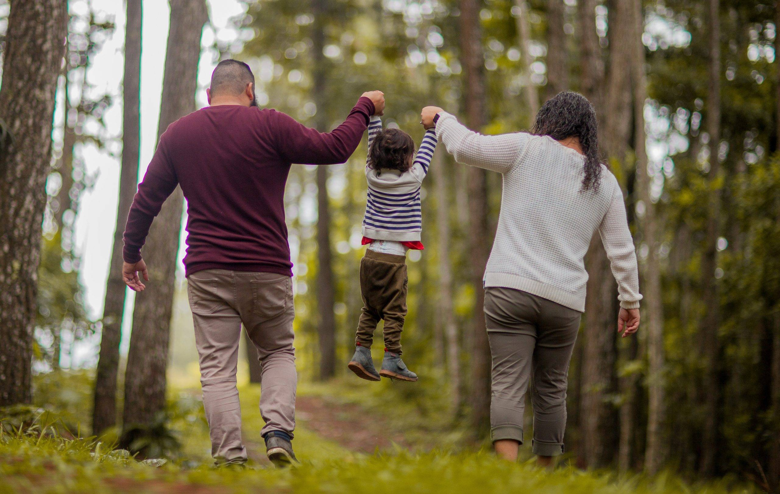 walking with family