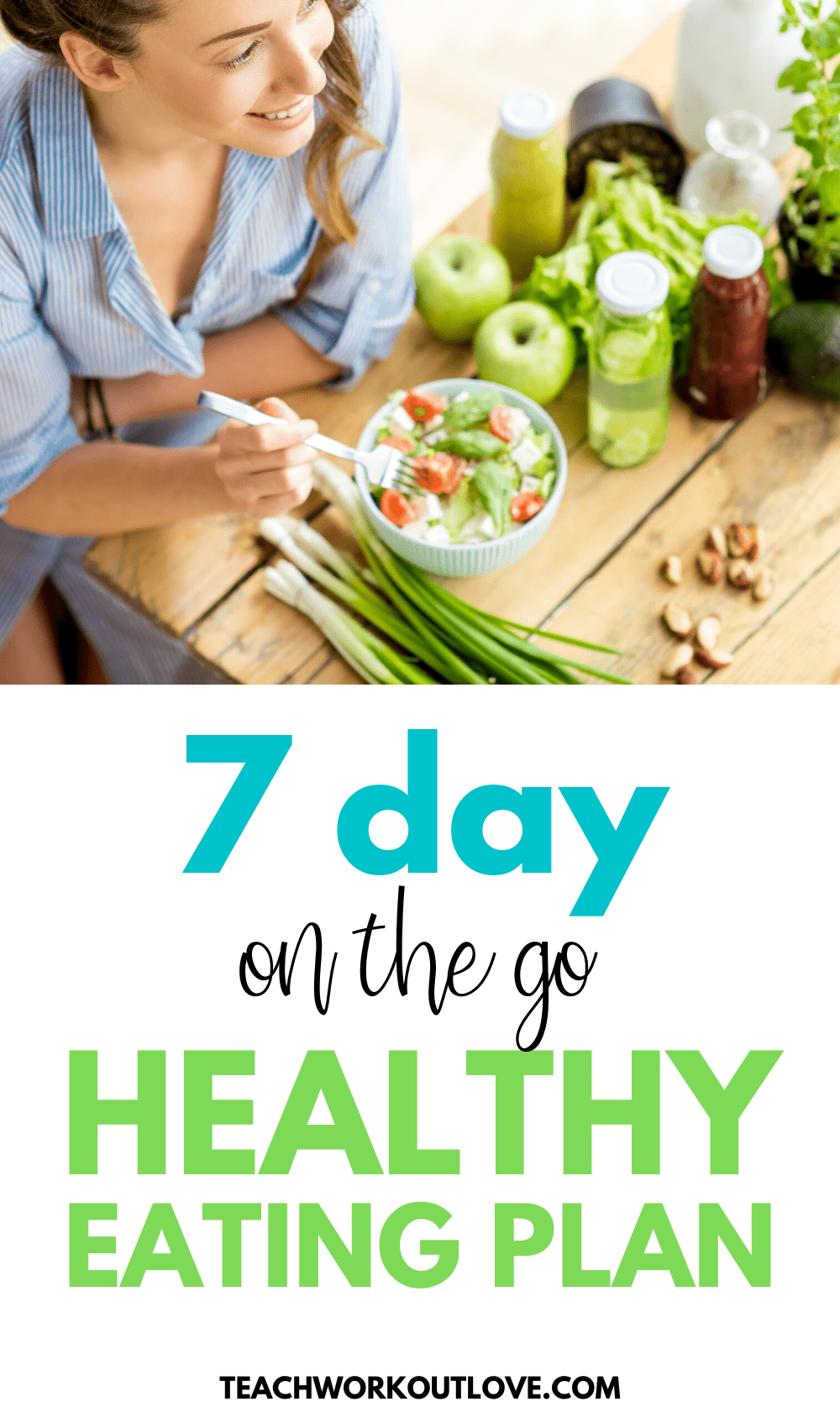 We have put together a 7-day on-the-go healthy eating plan and an easy plan to stick with, plus a free printable meal planning worksheet!