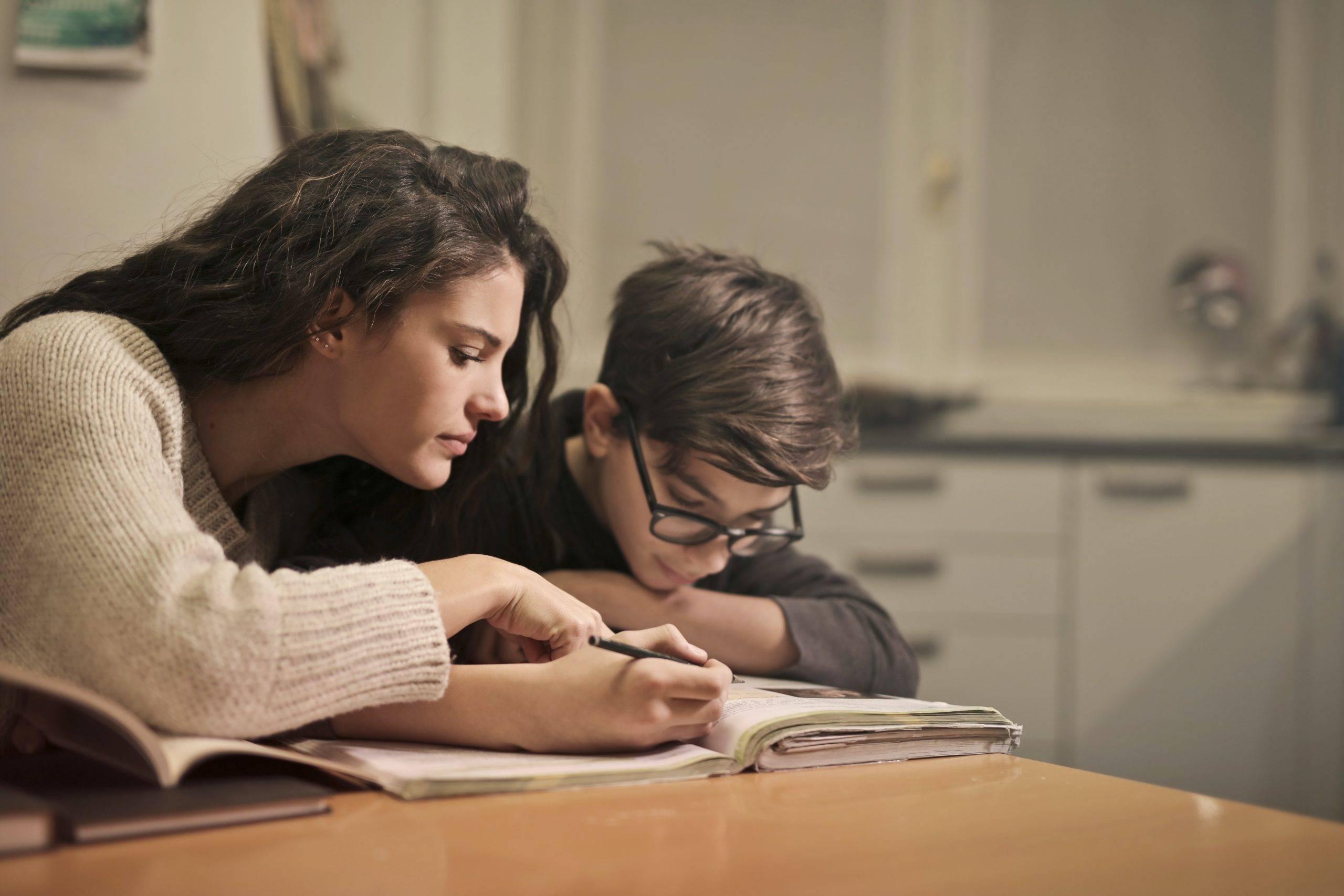 children working on their school work