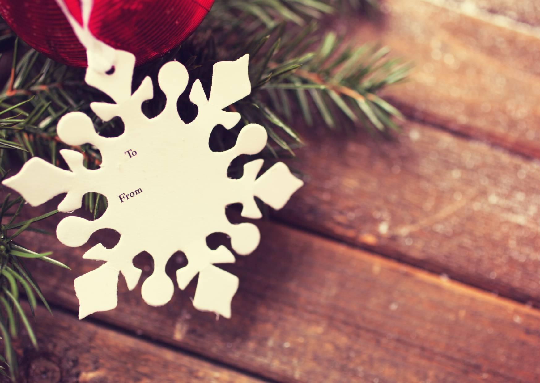 snowflake christmas tag