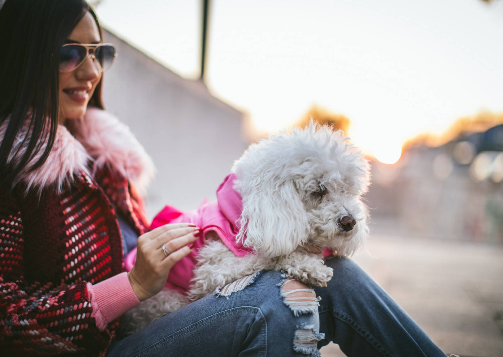 woman and her pet dog