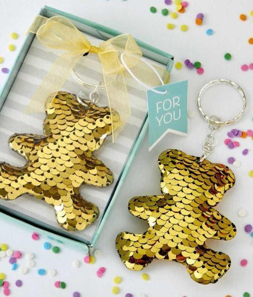 Gold / Silver Sequin Teddy Bear KeyChain