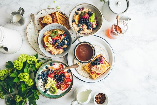 Father's Day, fruit salad and waffles placed in a gray bowl